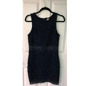 Navy Lace Bodycon Dress, Illusion Waist